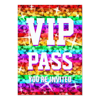 "Glitz Rainbow Stripe 'VIP PASS' invitation 5"" X 7"" Invitation Card"