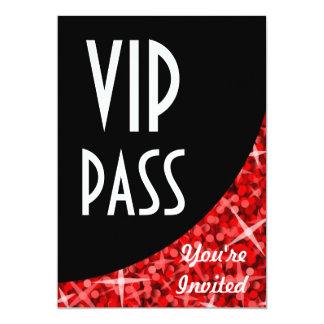 "Glitz Red black curve ""VIP Pass"" invitation"