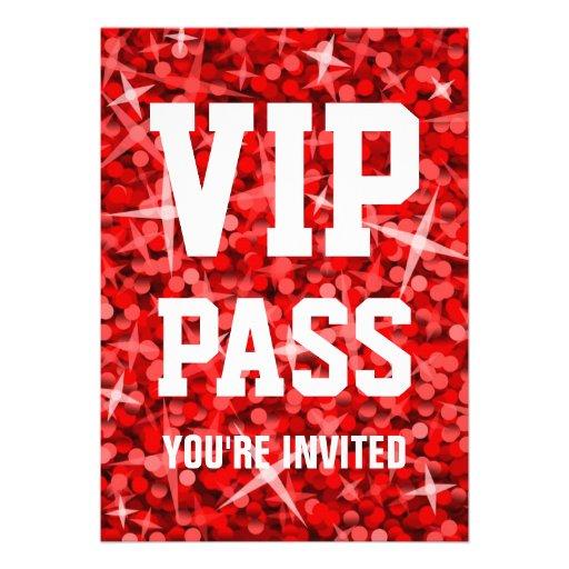 Glitz Red 'VIP PASS' invitation
