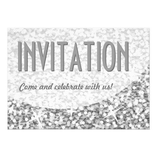 """Glitz """"Silver"""" curve 'Invitation' invitation"""