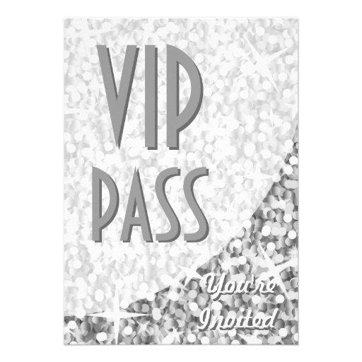 """Glitz """"Silver"""" curve """"VIP Pass"""" invitation"""