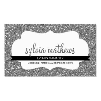GLITZY BUSINESS CARD sparkly glitter silver