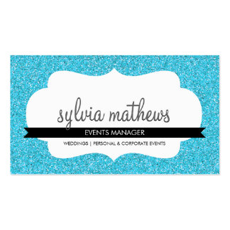 GLITZY BUSINESS CARD sparkly glitter turquoise