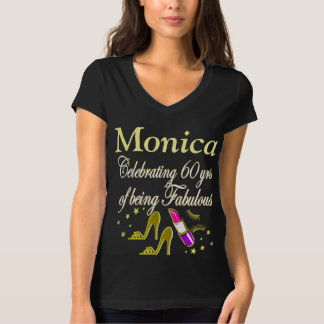 GLITZY GOLD 60 AND FABULOUS PERSONALIZED T SHIRT