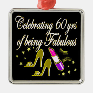 GLITZY GOLD 60TH BIRTHDAY DIVA METAL ORNAMENT