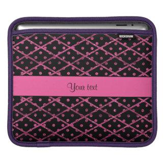 Glitzy Hot Pink Glitter Polka Dots & Diamonds iPad Sleeve