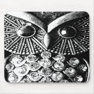 Glitzy Jewelled Metal Owl Mouse Pad