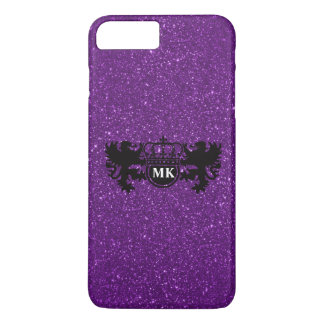 Glitzy Purple Lion Crest Monogram iPhone 8 Plus/7 Plus Case
