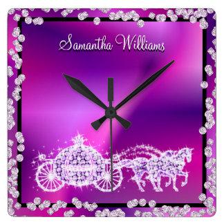 Glitzy Purple Princess Coach & Horses Wallclocks
