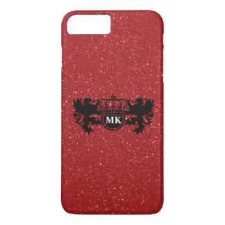 Glitzy Red Lion Crest Monogram iPhone 7 Plus Case