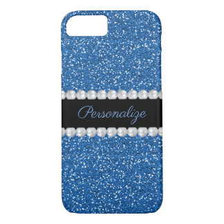 Glitzy Sparkly Blue Glitter & Pearls iPhone 8/7 Case