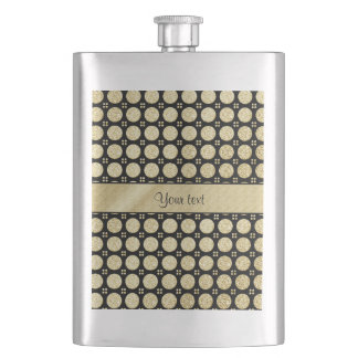 Glitzy Sparkly Faux Gold Glitter Buttons Hip Flask