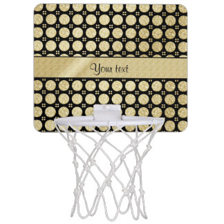 Glitzy Sparkly Faux Gold Glitter Buttons Mini Basketball Hoop