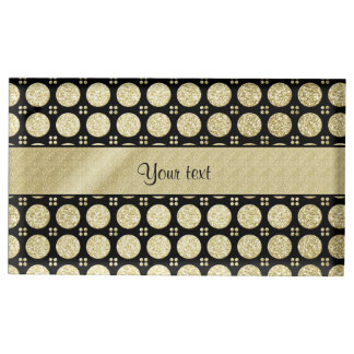 Glitzy Sparkly Faux Gold Glitter Buttons Table Card Holder