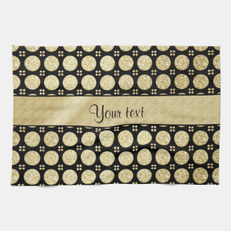 Glitzy Sparkly Faux Gold Glitter Buttons Tea Towel