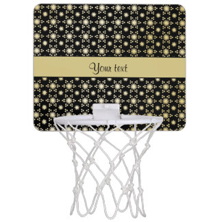 Glitzy Sparkly Faux Gold Stars Mini Basketball Hoop