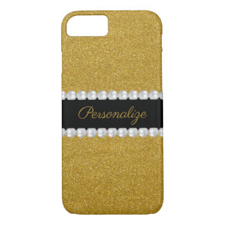 Glitzy Sparkly Gold Glitter & Pearls iPhone 8/7 Case