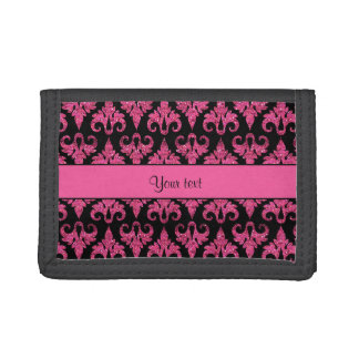 Glitzy Sparkly Hot Pink Glitter Damask Trifold Wallet