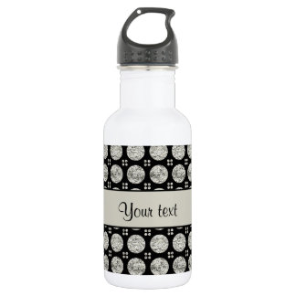 Glitzy Sparkly Silver Glitter Buttons 532 Ml Water Bottle