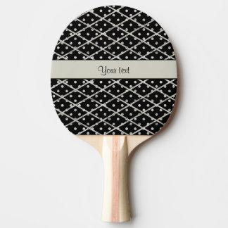 Glitzy Sparkly Silver Glitter Polka Dots & Diamond Ping Pong Paddle