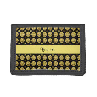 Glitzy Sparkly Yellow Glitter Buttons Trifold Wallet