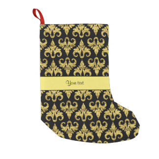 Glitzy Sparkly Yellow Glitter Damask Small Christmas Stocking