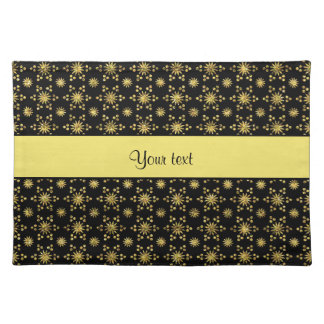 Glitzy Sparkly Yellow Glitter Stars Placemat