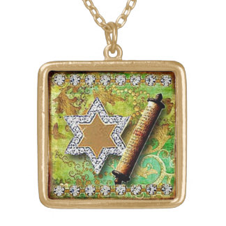 Glitzy Star of David pendan, original art Gold Plated Necklace