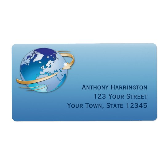 Global Business, Blue Shipping Label