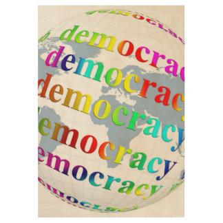 Global Democracy Wood Poster
