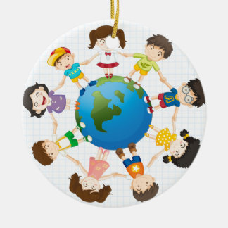 Global diversity ceramic ornament