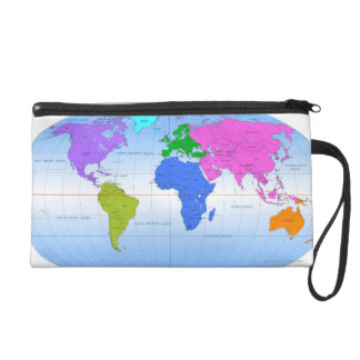 Global Map 2 Wristlet Purse