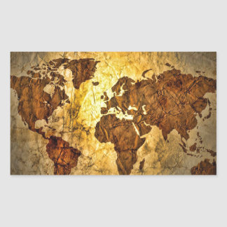 Global Map Cute Rectangular Sticker