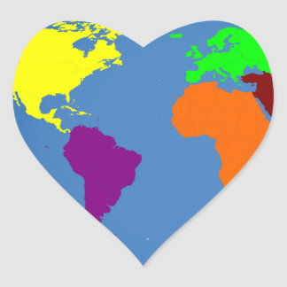 Global Map Heart Sticker