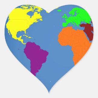Global Map Heart Sticker
