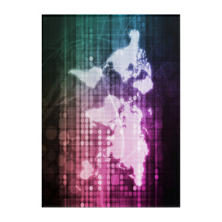 Global Network Connection and Integrated System Acrylic Print