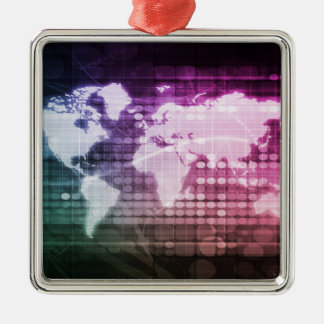 Global Network Connection and Integrated System Silver-Colored Square Decoration