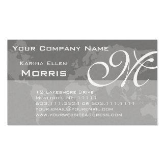 Global Professional Elegant Monogram World Map Pack Of Standard Business Cards