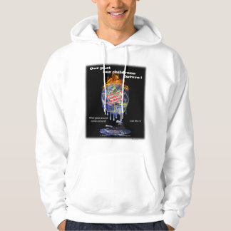 Global warming design on  hooded sweater