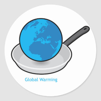 Global Warming Earth in a Pan Stickers