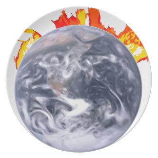 Global Warming Earth Plate