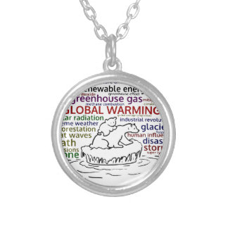 Global Warming impacts Polar Bear and cub Silver Plated Necklace