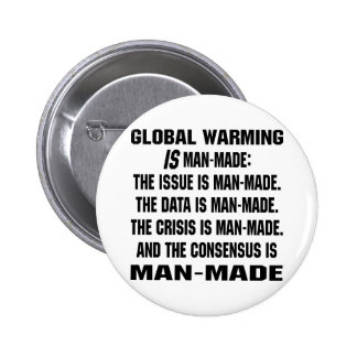 Global Warming Is Man-Made 6 Cm Round Badge