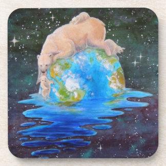 Global Warming Polar Bear and Cubs Drink Coaster