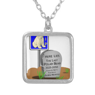 Global Warming,RIP Polar Bear 2050 Silver Plated Necklace