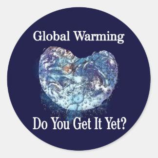Global Warming Round Stickers