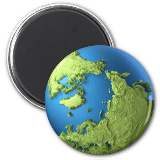 Globe 3d isolated on white background. North Pole 6 Cm Round Magnet