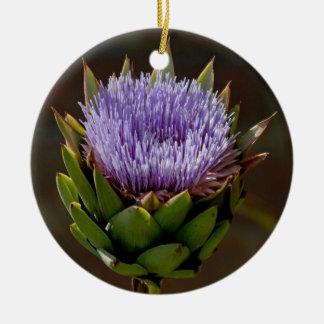 Globe Artichoke, Cynara Cardunculus, in flower. Round Ceramic Decoration