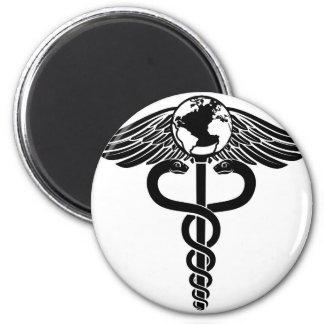 Globe Caduceus Medical Symbol Magnet