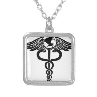Globe Caduceus Medical Symbol Silver Plated Necklace